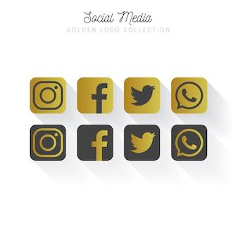 골든 소셜 미디어 로고 컬렉션