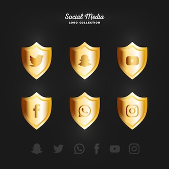 Golden Social Media logotype collection