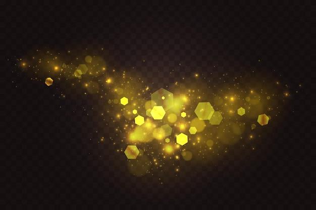 黄金の輝きボケ抽象的な光の効果の豪華な輝く輝くゴールドの光沢のある粒子