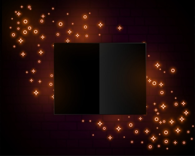 Golden sparkle lights neon style background design