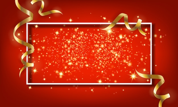 Golden sparkle particle and falling ribbon background