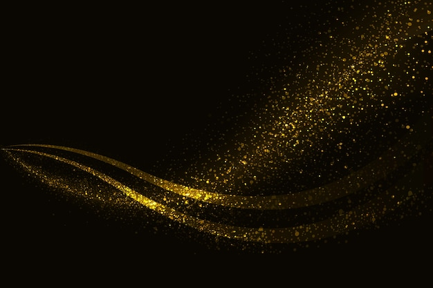 Golden sparkle wave background