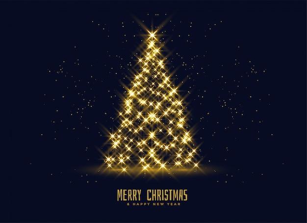 황금 반짝 크리스마스 트리 배경
