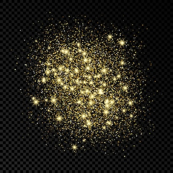 Golden sparkles glittering backdrop on a dark transparent background. background with gold glitter effect. empty space for your text.  vector illustration