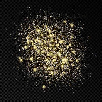 暗い透明な背景に金色のきらめく背景がきらめきます。ゴールドのキラキラ効果のある背景。テキスト用の空のスペース。ベクトルイラスト