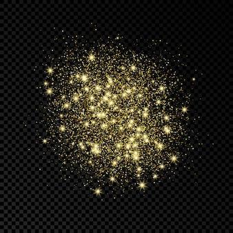 Золотые блестки сверкающий фон на темном прозрачном фоне. фон с эффектом золотого блеска. пустое место для вашего текста. векторная иллюстрация