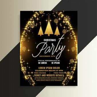 Golden sparkles shiny christmas flyer template design