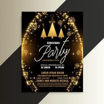 Golden sparkles shiny christmas flyer template design