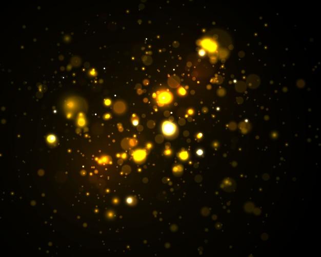 Golden sparkling bokeh lights