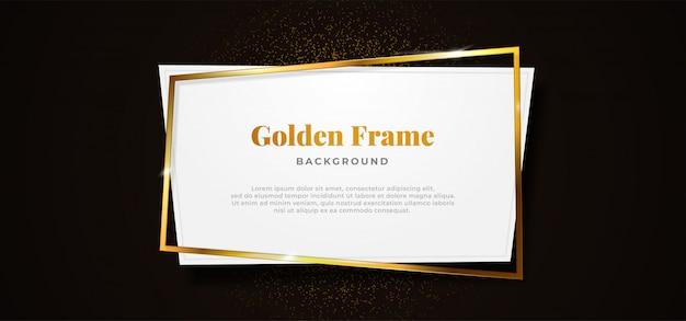 Golden sparkling box frame with white paper board shape on dark black background