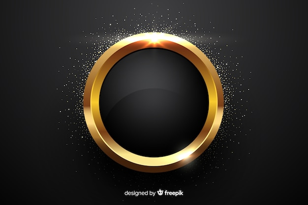 Golden sparkling circular frame background