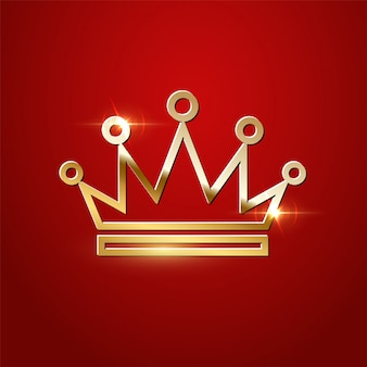 Golden sparkling crown isolated