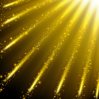 Golden sparkling falling from the sky background