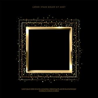 Golden sparkling frame on black background