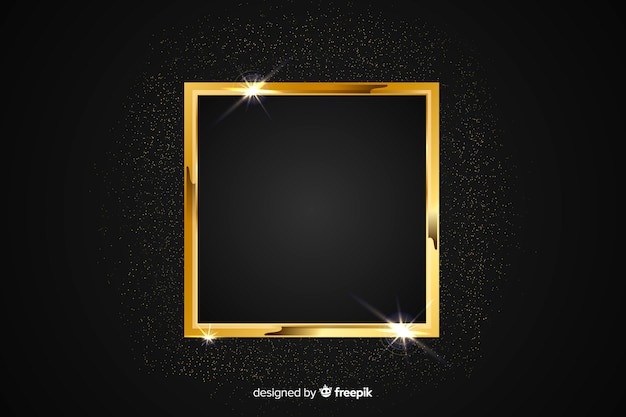 Golden sparkling frame on black background