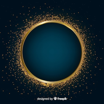 Golden sparkling frame on dark background