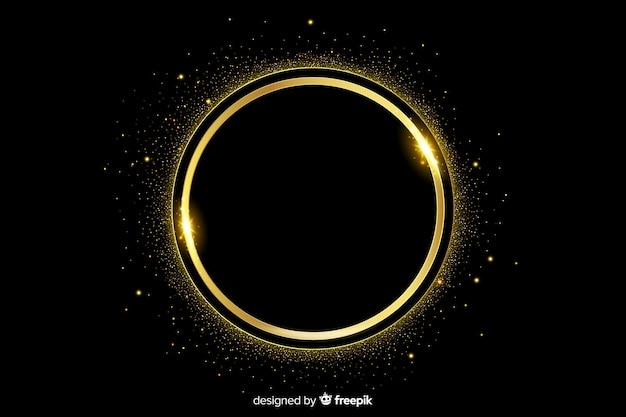 暗い背景上の黄金の輝くフレーム
