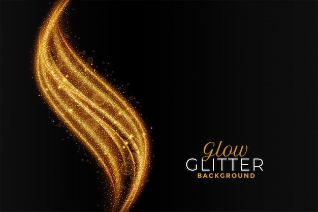 Golden sparkling glitter abstract wavy background