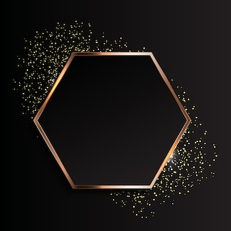 Golden sparkling glossy frame abstract backgroun