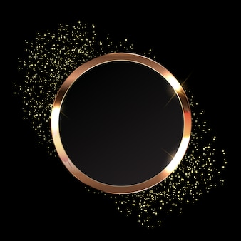 Golden sparkling glossy frame abstract background