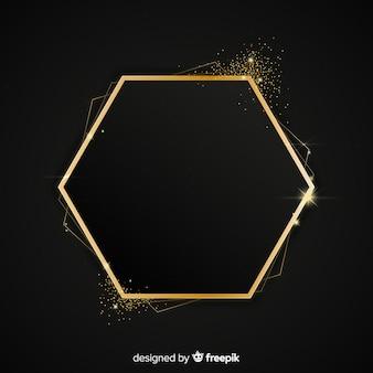 Golden sparkling hexagon frame background