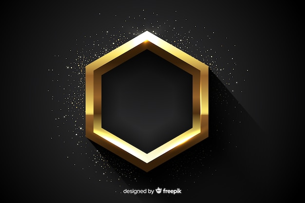 Golden sparkling hexagonal frame background