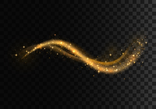 Golden sparkling light trails . futuristic wave flash. glowing shiny spiral lines effect.  magical dust particles.