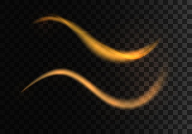 Golden sparkling light trails futuristic wave flash glowing shiny spiral lines effect vector