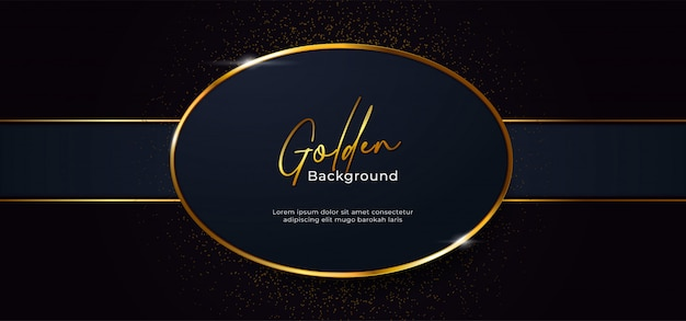 Golden sparkling oval shape with gold glitter effect background