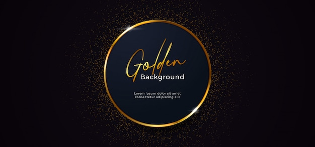 Golden sparkling ring circle with gold glitter decoration effect on dark blue background
