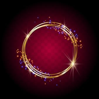황금빛 반짝임과 황금빛 반짝이는 반지.