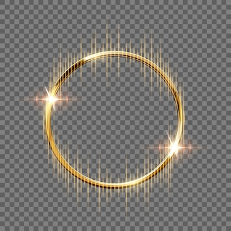 Golden sparkling ring with rays isolated on transparent background.