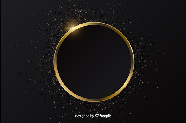 Golden sparkling round frame background