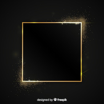 Golden sparkling square frame background