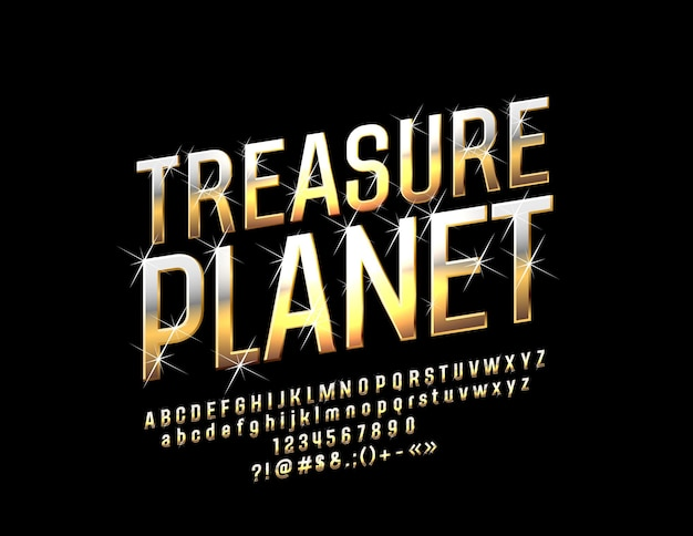Золотая сверкающая планета сокровищ с шрифтом. роскошные буквы алфавита и символы со звездами