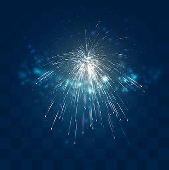 Золотые искры фейерверков на синем фоне мозаики, удобный редактируемый элемент дизайна