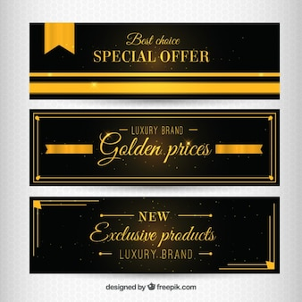 Golden special offer banners