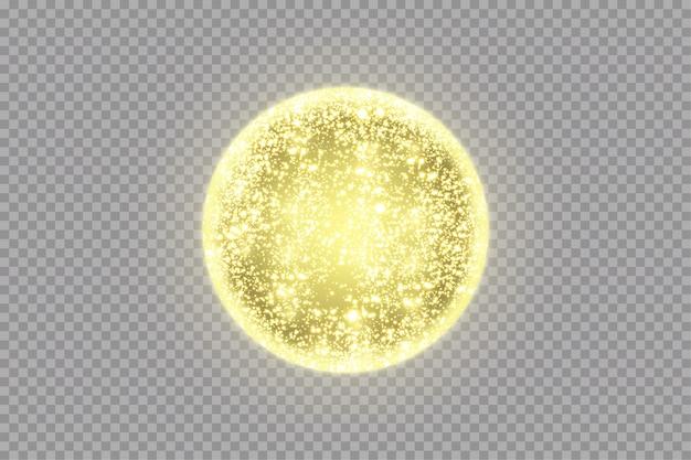 Золотая сфера с световыми эффектами. сияющий круг