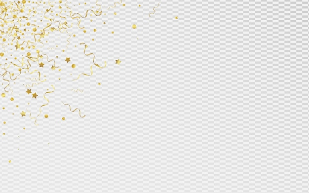 Золотая спираль празднует прозрачный фон. приглашение на праздник ленты. звездный летающий шаблон. желтый абстрактный плакат.