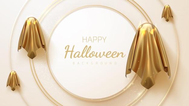 Golden spirit, modern ghost design, luxury 3d style halloween background. realistic vector illustration.