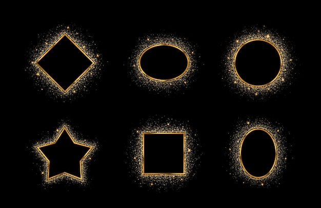 Golden splash or glittering spangles frame with empty center for text