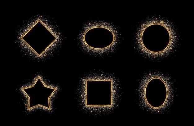 텍스트의 중심이 비어 있는 황금빛 스플래시 또는 반짝이는 스팽글 프레임