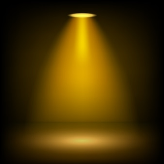 Golden spotlights shining on transparent background