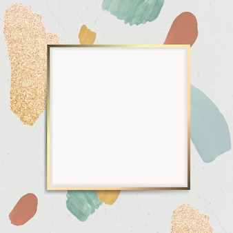 Golden square frame on an abstract element background