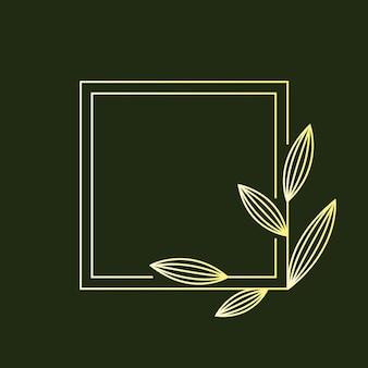 Золотая квадратная рамка в линейном стиле с листьями