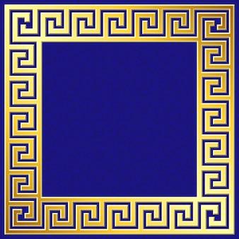 그리스어 Meander 패턴으로 황금 사각형 프레임 프리미엄 벡터