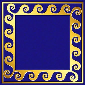 Golden square frame with greek meander