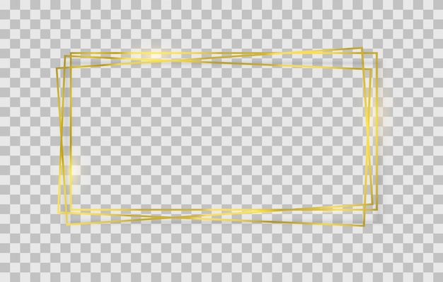 ライト効果のある黄金の正方形、円形、楕円形のフレーム。