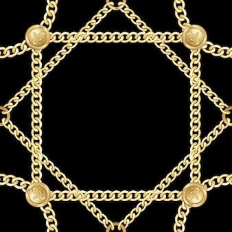 金色の四角と丸いチェーンのシームレスなパターンファッションゴールドは、ジュエリーと背景を繰り返します