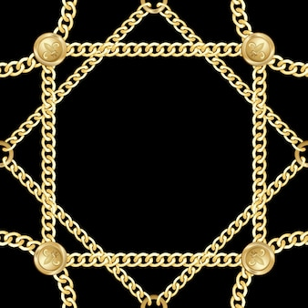 Golden squared and round chains seamless pattern fashion gold repeat background with jewelry